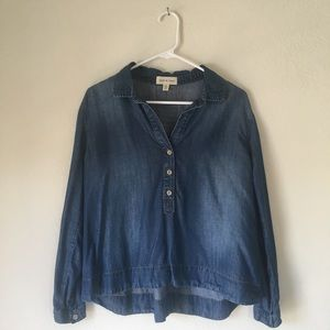 Anthropologie Cloth & Stone Chambray Pullover